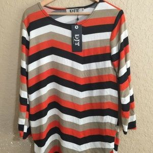 DJT One Size (F) Striped Long Sleeve Blouse